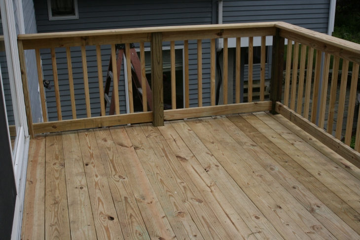 Refurbished second floor deck: Decking planks and railings