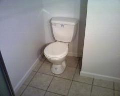 Basement toilet pump macerating system.
