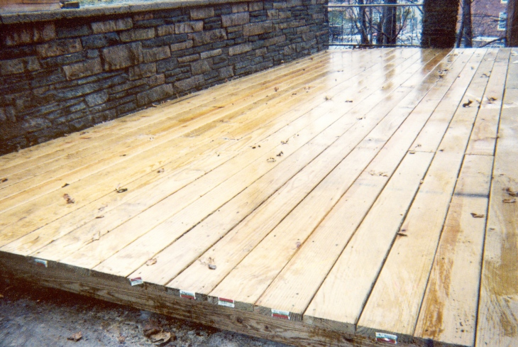 Decking built over concrete patio